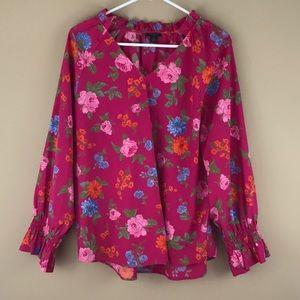 Ann Taylor flower print summer blouse Sz petite XL